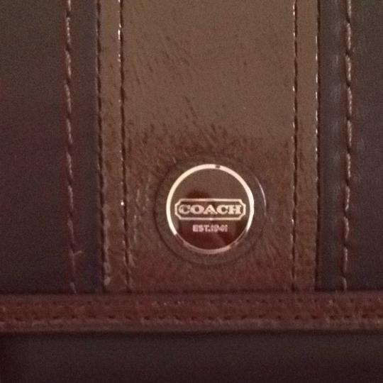 Coach Black And Brown Leather Coach Wallet With Checkbook Image 1