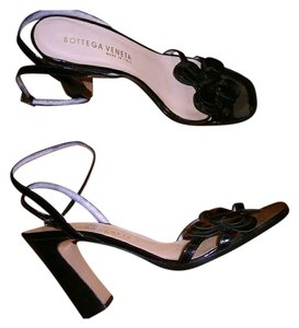 Bottega Veneta Black Patent Sandals