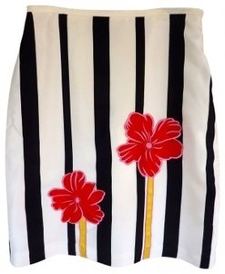 Studio G Skirt White, black stripes with appliqu of pink and yell