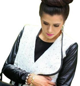 Goodnight Macaroon black and white Leather Jacket