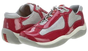 Prada Patent Leather Cherry Red, Silver Athletic