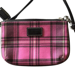 Coach Wristlet in Pink Black White Plaid