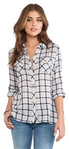 C&C California Blue Plaid Check Checkered Blouse Country Cow Girl Seven Paige Splendid Joie Josie Equipment Rails Bella Belladahl Button Down Shirt Navy 410