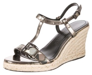 Burberry Gold Hardware Ankle Strap Nova Check Plaid Studded Gold, Beige Wedges
