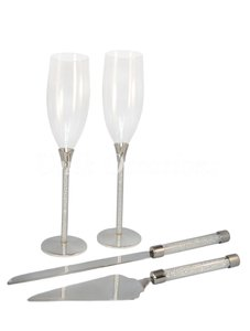 Silvertone Unik Occasions Toasting Glasses & Cake Serving Set