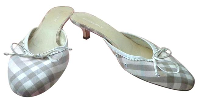 Item - Nova Plaid Made In Italy Tan Fabric Over Leather Kitten Heel Mules/Shoes 7.5) Mules/Slides Size US 7.5 Regular (M, B)