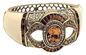 "Heidi Daus Heidi Daus ""Signature Accent"" Topaz Crystal Ivory Enamel Hinged Bangle Bracelet Size S/M New"