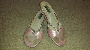 Touch Ups Pink Low Heel Sandal Crystal Wedding Shoes