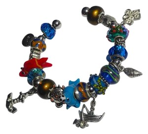 Other New European Charm Bracelet Lampwork Fish W/ 21 Charms J2673