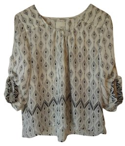 Anthropologie Boho Flowy White Roll Sleeves Top