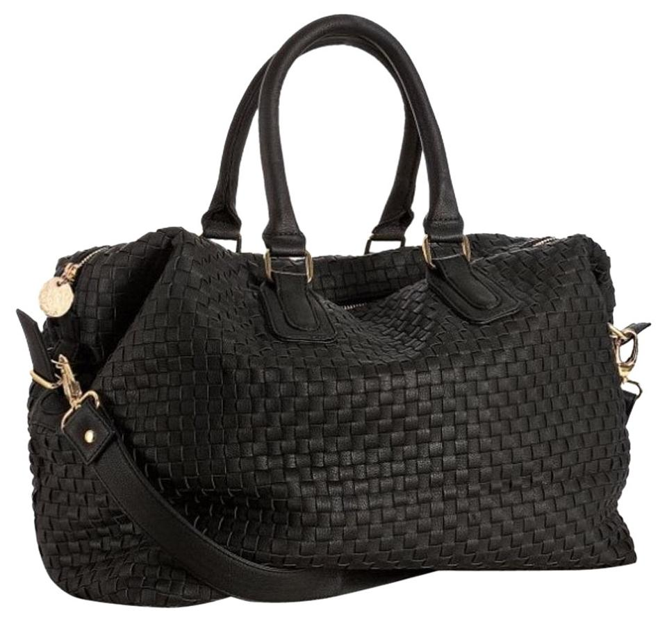786b196616 deux lux Woven 'luella' Overnight Black Faux Leather Weekend/Travel ...