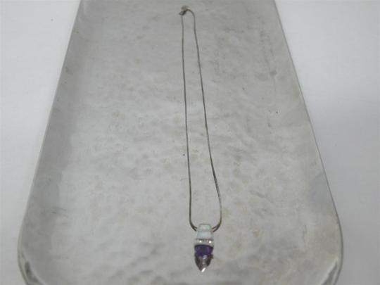 Other Stunning Purple Sapphire Opal Diamond Sterling Silver Necklace Image 4