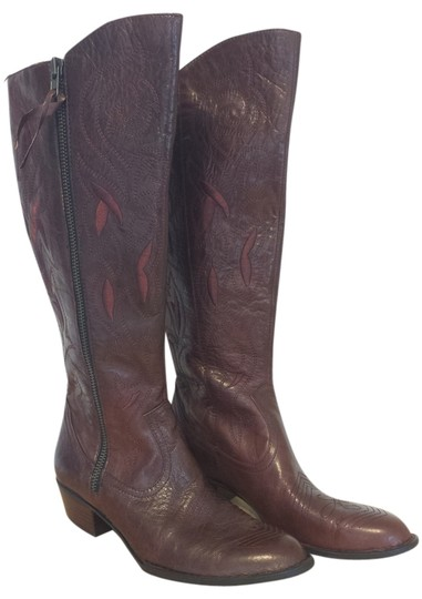 Crown by Brn Leather Embroidered Brown Boots