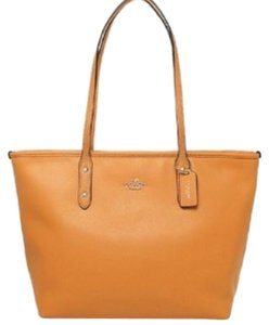 Coach Leather Tote in Orange Peel