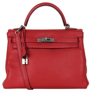 Herms Kelly Casaque Togo Tote in red