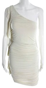 Velvet by Graham & Spencer One Shoulder Cream Ruched Dress