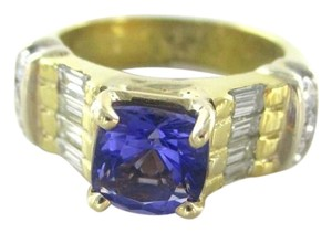 18KT SOLID YELLOW GOLD RING TANZANITE SZ 7 WEDDING BAND 14 DIAMONDS 9.3 GRAMS