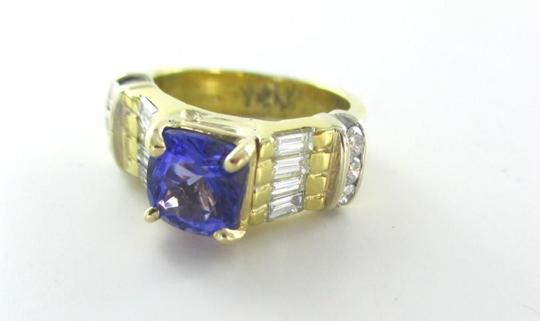 Other 18KT SOLID YELLOW GOLD RING TANZANITE SZ 7 WEDDING BAND 14 DIAMONDS 9.3 GRAMS Image 1