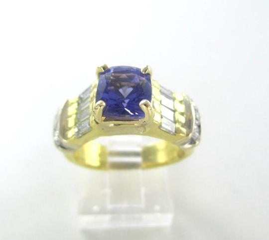 Other 18KT SOLID YELLOW GOLD RING TANZANITE SZ 7 WEDDING BAND 14 DIAMONDS 9.3 GRAMS Image 10