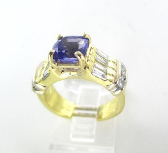 Other 18KT SOLID YELLOW GOLD RING TANZANITE SZ 7 WEDDING BAND 14 DIAMONDS 9.3 GRAMS Image 2
