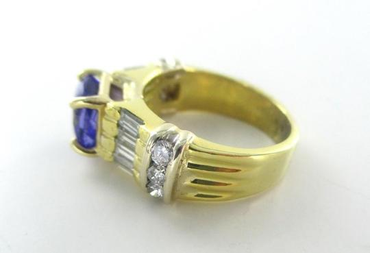 Other 18KT SOLID YELLOW GOLD RING TANZANITE SZ 7 WEDDING BAND 14 DIAMONDS 9.3 GRAMS Image 4