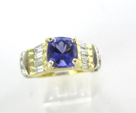 Other 18KT SOLID YELLOW GOLD RING TANZANITE SZ 7 WEDDING BAND 14 DIAMONDS 9.3 GRAMS Image 6