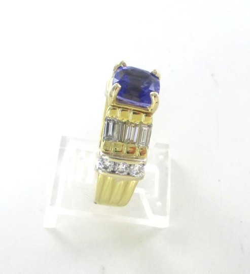 Other 18KT SOLID YELLOW GOLD RING TANZANITE SZ 7 WEDDING BAND 14 DIAMONDS 9.3 GRAMS Image 7
