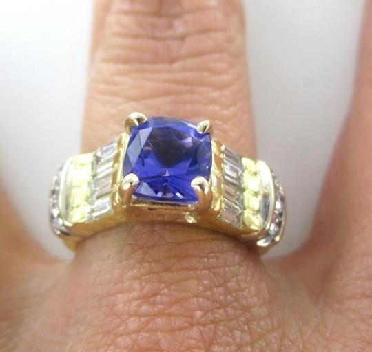 Other 18KT SOLID YELLOW GOLD RING TANZANITE SZ 7 WEDDING BAND 14 DIAMONDS 9.3 GRAMS Image 8