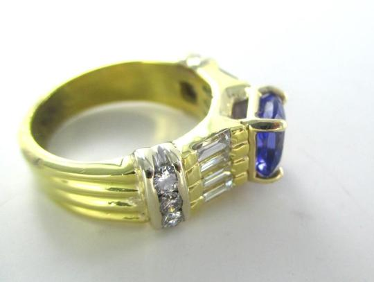 Other 18KT SOLID YELLOW GOLD RING TANZANITE SZ 7 WEDDING BAND 14 DIAMONDS 9.3 GRAMS Image 9