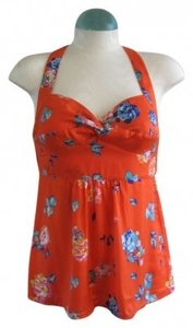 American Eagle Outfitters Floral Print Sweetheart Neckline orange Halter Top