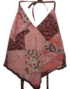 Blue Asphalt Paisley Floral Brown, Orange, Pink, Purple, Olive Halter Top