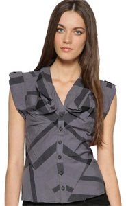AllSaints Cupid Button Up Plaid Button Down Shirt Lavendar, black
