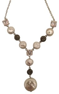 Judith Jack STERLING SILVER NECKLACE FAUX PEARLS CRYSTALS CUBIC ZIRCONIA