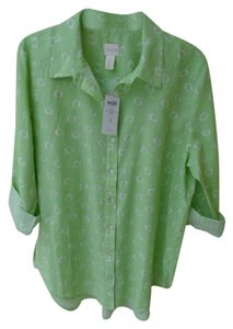 Chico's Linen Mix Print Shirt Tab Sleeves Button Down Shirt Green & White