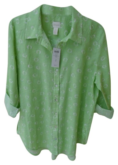 5c0a93077a446c Chico s Green   White New With  89 Tag Size 2 Women s Shirt Blouse M ...