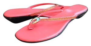Other Leather Wedge Rhinestone Coral Sandals