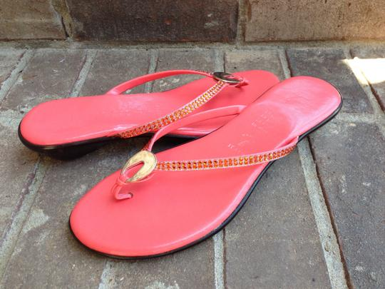 Other Leather Wedge Rhinestone Coral Sandals Image 1