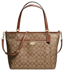 Coach Pocket F33998 33998 Tote in GOLD/KHAKI/SADDLE
