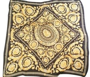 Versace Authentic Versace Super Large New Black and Gold Scarf