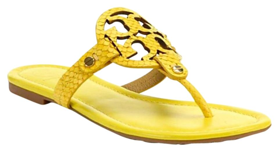 74a9633bf Tory Burch Miller Snake Print Yellow Sandals Size US 8 Regular (M