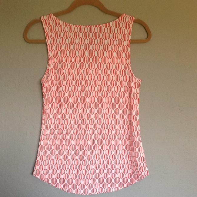 Ann Taylor Sleeveless Top Orange And White Image 1