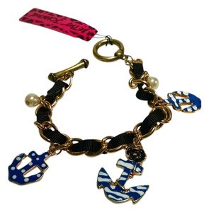 Betsey Johnson New Betsey Johnson Anchor Charm Bracelet Navy Antiqued Gold J587
