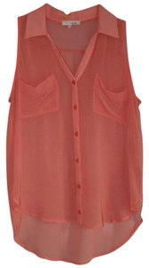 Lush Button Up Tank Top Peach
