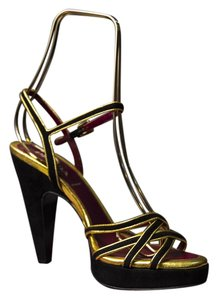 Prada black and gold Sandals