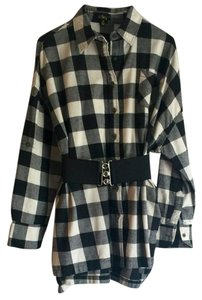 Audrey short dress White and Black Flannel Shirt Belted Long Sleeve Fall Fashion on Tradesy