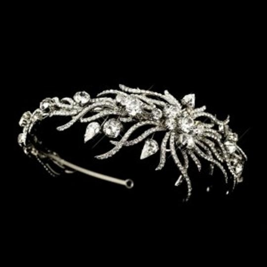Elegance by Carbonneau Silver Couture Side Accent Headband Tiara