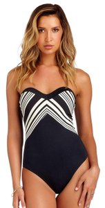 Vitamin A Natalie Mitered Stripe Maillot Swimsuit