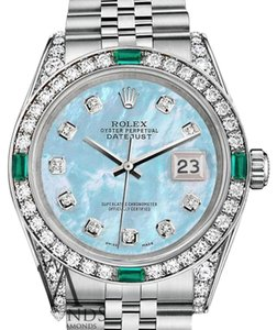Rolex Women's Rolex 31mm Stainless Steel BabyBlue MOP Diamond Emerald