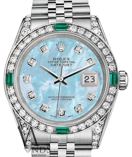 Preload https://img-static.tradesy.com/item/16509499/rolex-women-s-31mm-stainless-steel-babyblue-mop-diamond-emerald-watch-0-1-540-540.jpg