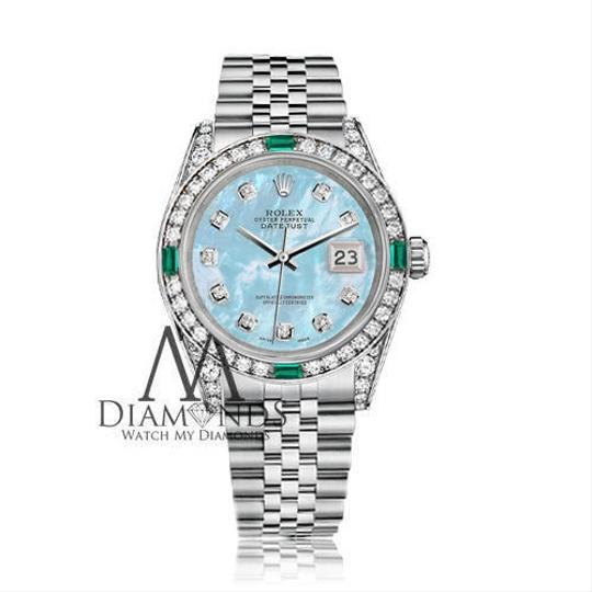 Rolex Women's Rolex 31mm Stainless Steel BabyBlue MOP Diamond Emerald Image 1
